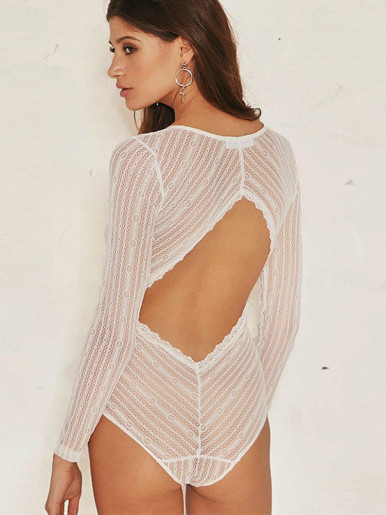 Long Sleeve Lace Plunge Bodysuit with Open Back