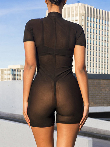 High Neck Zipper Front Mesh Playsuit with Reflective Letters