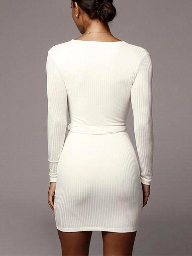 Deep V Neck Bodycon Mini Dress with Belt