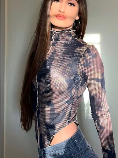 Camouflage Mesh High Neck Bodysuit with Stitching