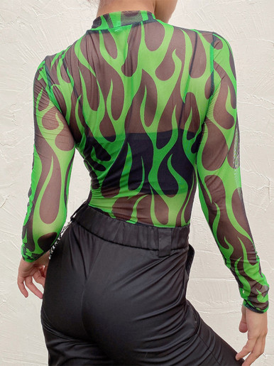 Long Sleeve Mesh Bodysuit In Green Flame Print