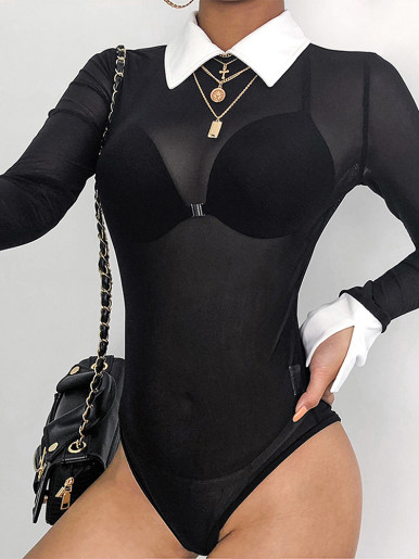 Sheer Mesh Black Bodysuit with Contrast Collar
