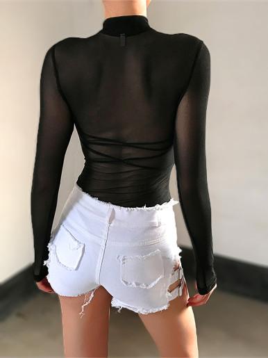 Sheer Mesh Long Sleeve Bodysuit In Black