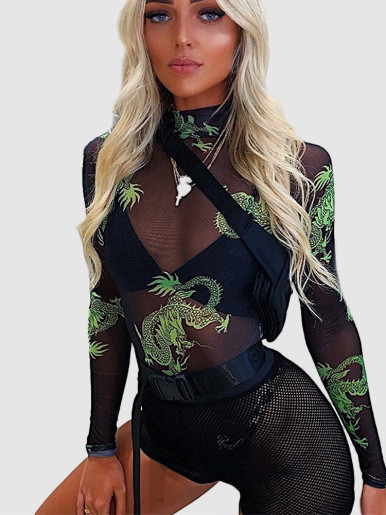 Long Sleeve High Neck Mesh Bodysuit In Dragon Print