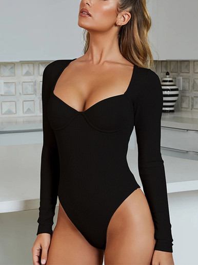 Long Sleeve Bodysuit with Sweetheart Neckline