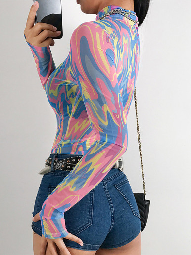 High Neck Bodysuit with Tie Dye Mesh with Long Sleeve