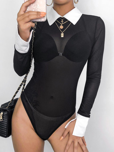 Sheer Mesh Black Bodysuit with Contrast Collar