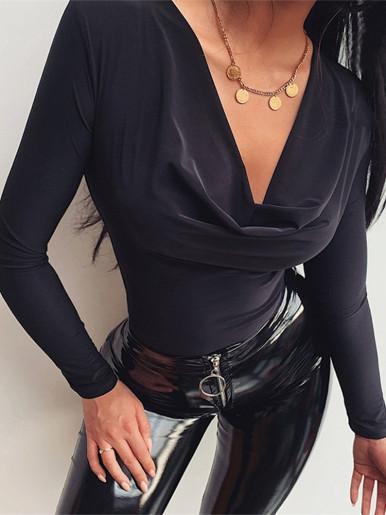 Cowl Neck Long Sleeve Bodysuit