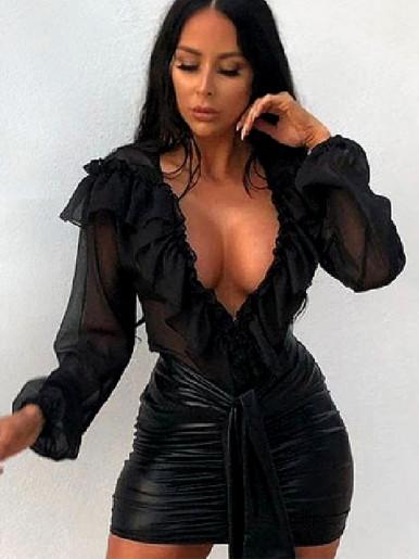 Ruffles Detail Deep Plunge Bodysuit In Black