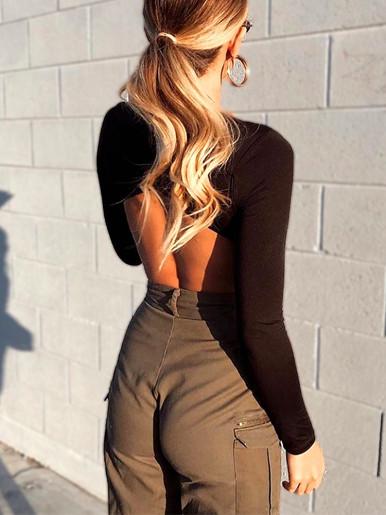 Black Bodysuit with Wrap Open Back Detail