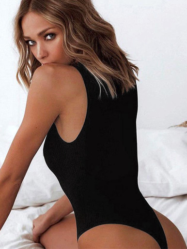 Sleeveless Black Bodysuit In Rib Knit