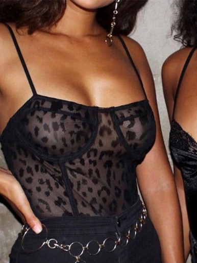 Leopard Mesh Bodysuit with Adjust Straps