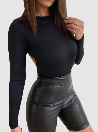 Black Bodysuit with Wrap Open Back Detail