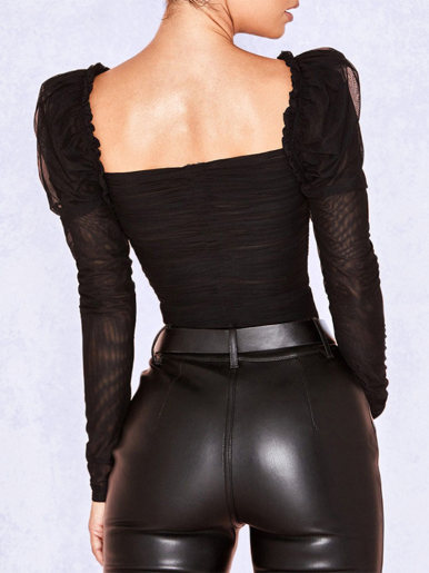 Square Collar Ruched Mesh Bodysuit In Black with Puff Sleeve