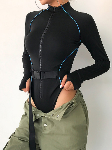 Long Sleeve Zipper Bodysuit with Contrast Piping
