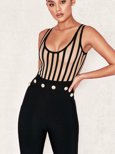 Scoop Neck Stripe Mesh Bodysuit