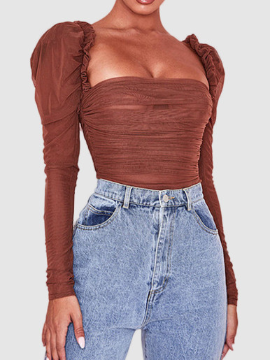Puff Sleeve Ruched Mesh Bodysuit