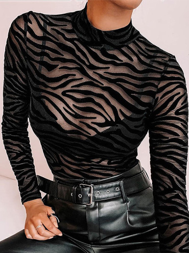 High Neck Bodysuit In Animal Flocked Mesh