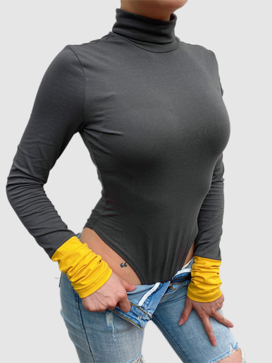 High Neck Bodysuit with Contrast Sleeve