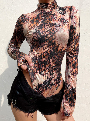 Long Sleeve Turtle Neck Bodysuit In Snake Print