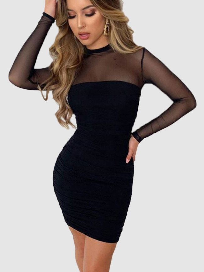 High Neck Ruched Bodycon Mini Dress with Mesh Sleeves