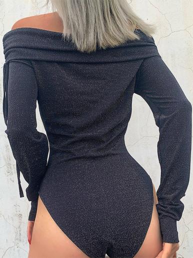 Off Shoulder Glitter Bodysuit with Foldover In Black