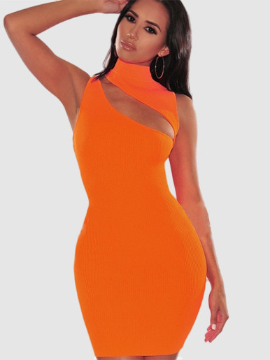Sleeveless High Neck Bodycon Mini Dress with Cut Out