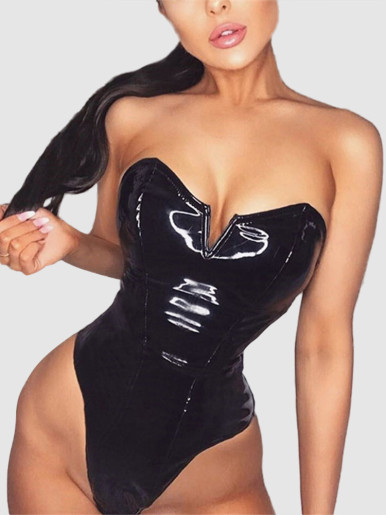 Bandeau PU Bodysuit In Black