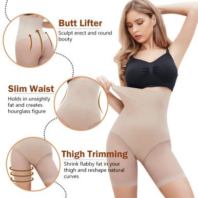 Women's Seamless Plus Size High Waist Control Panties Shapewear Thigh Slimmer Body Shaper Smooth Slip Shorts under Skirt