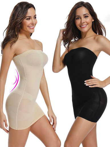 Body Shaper Waist Trainer Off Shoulder Mini Dress Women Underdress Tube Tops Control Slips Seamless Underwear Slimming Shapewear