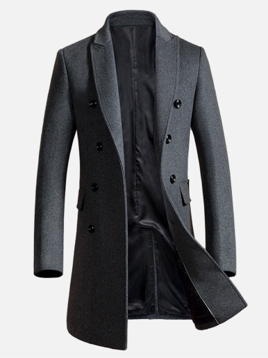 Wool Blend Double Breasted Men Trench Coat