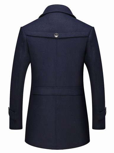Plus Size Men Single Breasted Slim Wool Coat with Zipper Detail and Detachable Scarf