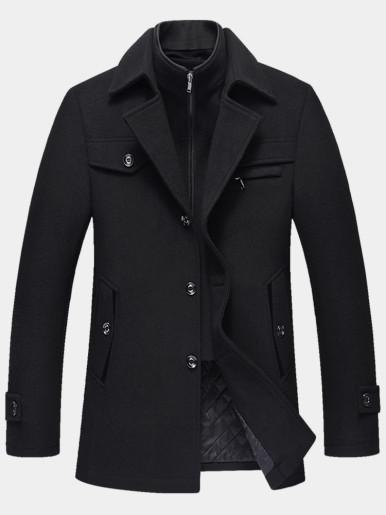 Thick Warm Woolen Men Coat with Detachable Double Collar