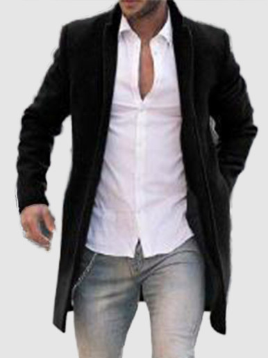 Faux Wool Single Breasted Men Trench Coat