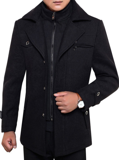 Thick Warm Woolen Men Coat with Detachable Double Collar