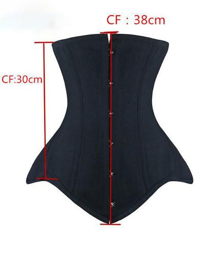 Burvogue Underbust Corset Bustier Steampunk Steel Boned Slim Waist Control Corset for Women Waist Trainer Corselet Plus Size