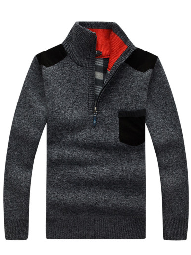 Half Zip Men Jumper with Contrast Pocket and Check Lining