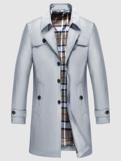 7XL / 8XL / 9XL Check Lined Men Trench Coat