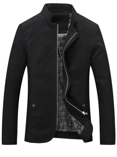 Plus Size Paisley Lined Zipper Men Jacket