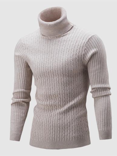 Cable Knit Roll Neck Men Jumper