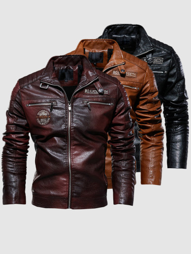 Zipper Faux Leather Men Biker Jacket