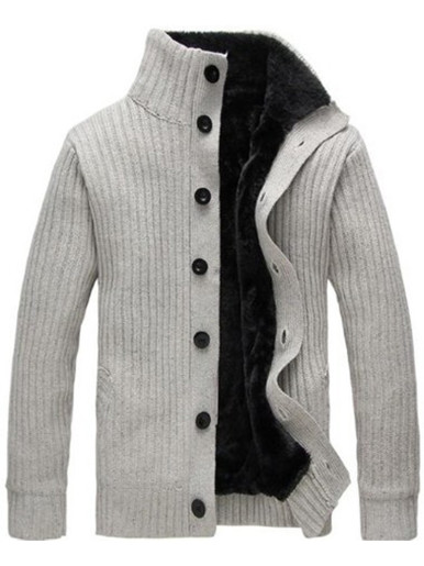 Funnel Neck Men Knitted Button Jacket with Faux Fur Lining