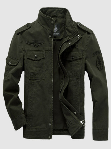Plus Size Men Zipper Military Jacket