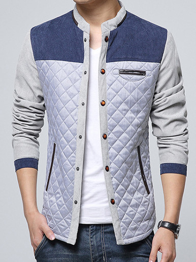 Diamond Textured Men Slim Jacket with Poppers