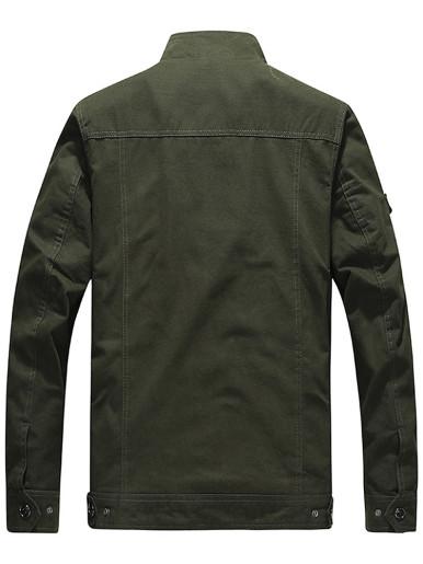 Plus Size Men Zipper Military Jacket