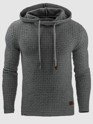 Plus Size Grid Textured Men Hoodie