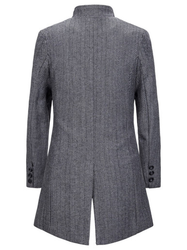 Men Trench Coat In Wool Mix Herringbone