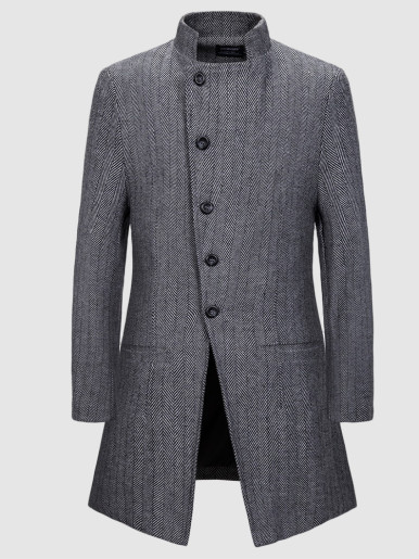 Men Trench Coat In Wool Mix Herringbone