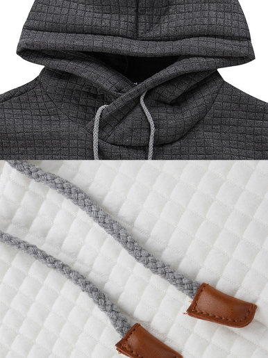 Plus Size Grid Textured Men Hoodie