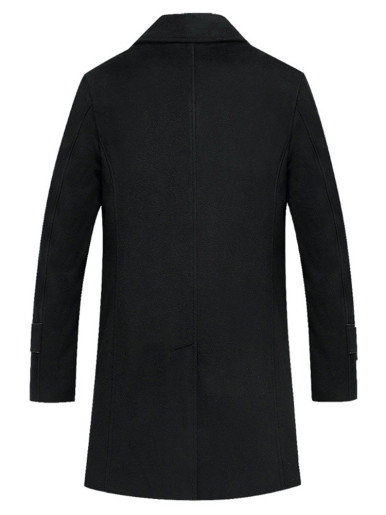 Detachable Scarf Wool Blend Men Trench Coat In Black
